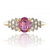 Bague saphir rose et diamants brillants