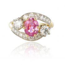 Bague saphir rose et diamants or platine