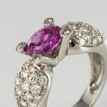 Bague Saphir rose et Diamants