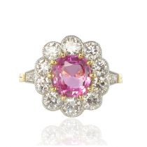 Bague saphir rose et diamants platine et or