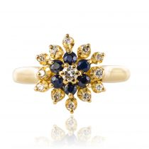 Bague saphirs diamants fleur