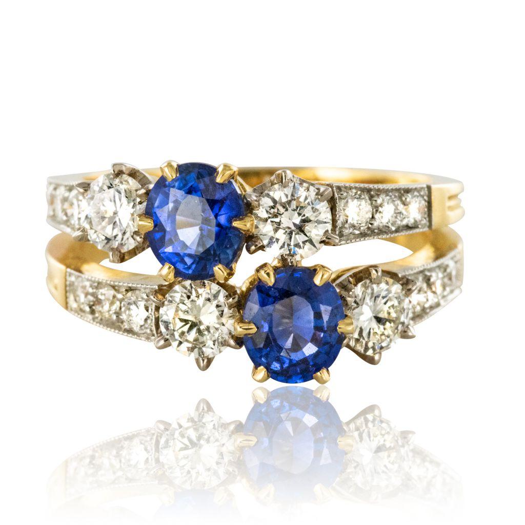 Bague saphirs diamants toi et moi