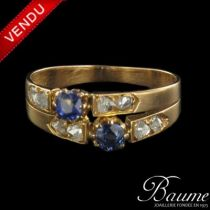 Bague saphirs et diamants double