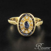 Bague saphirs et diamants ovale