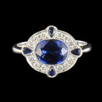 Bague saphirs et diamants style art déco
