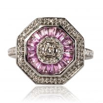 Bague saphirs rose et diamants