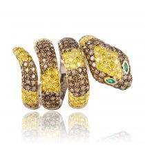 Bague Serpent Diamants et Emeraudes