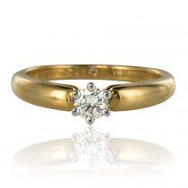 Bague solitaire diamant or jaune