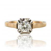 Bague solitaire diamant or rose platine