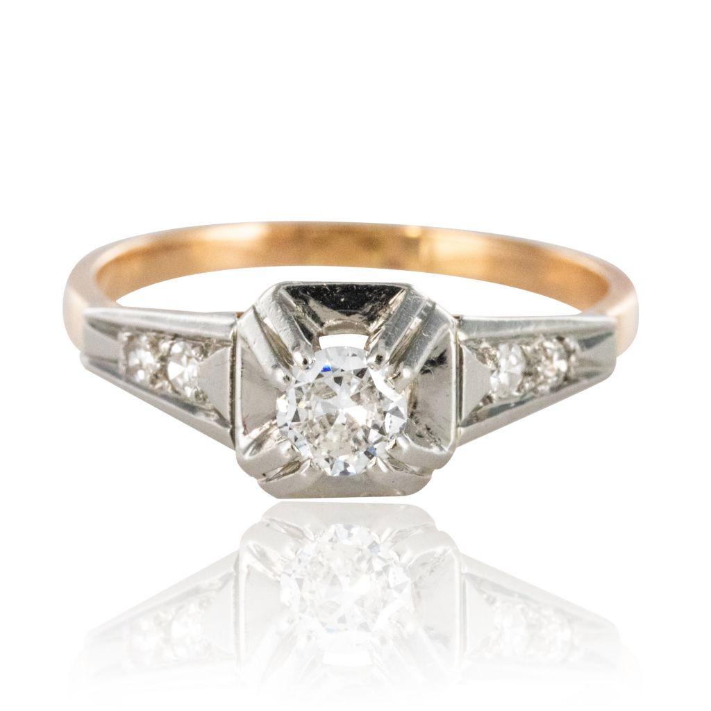 Bague solitaire diamants art déco