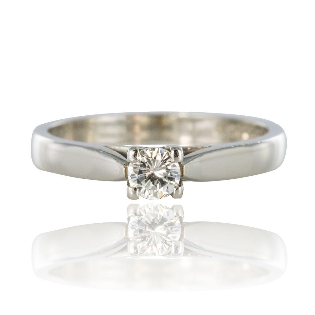 Bague solitaire or blanc diamant