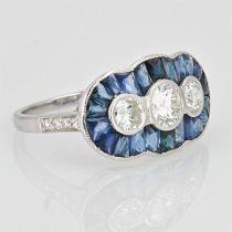 Bague style art déco saphirs calibrés et diamants