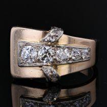 Bague tank asymétrique diamants