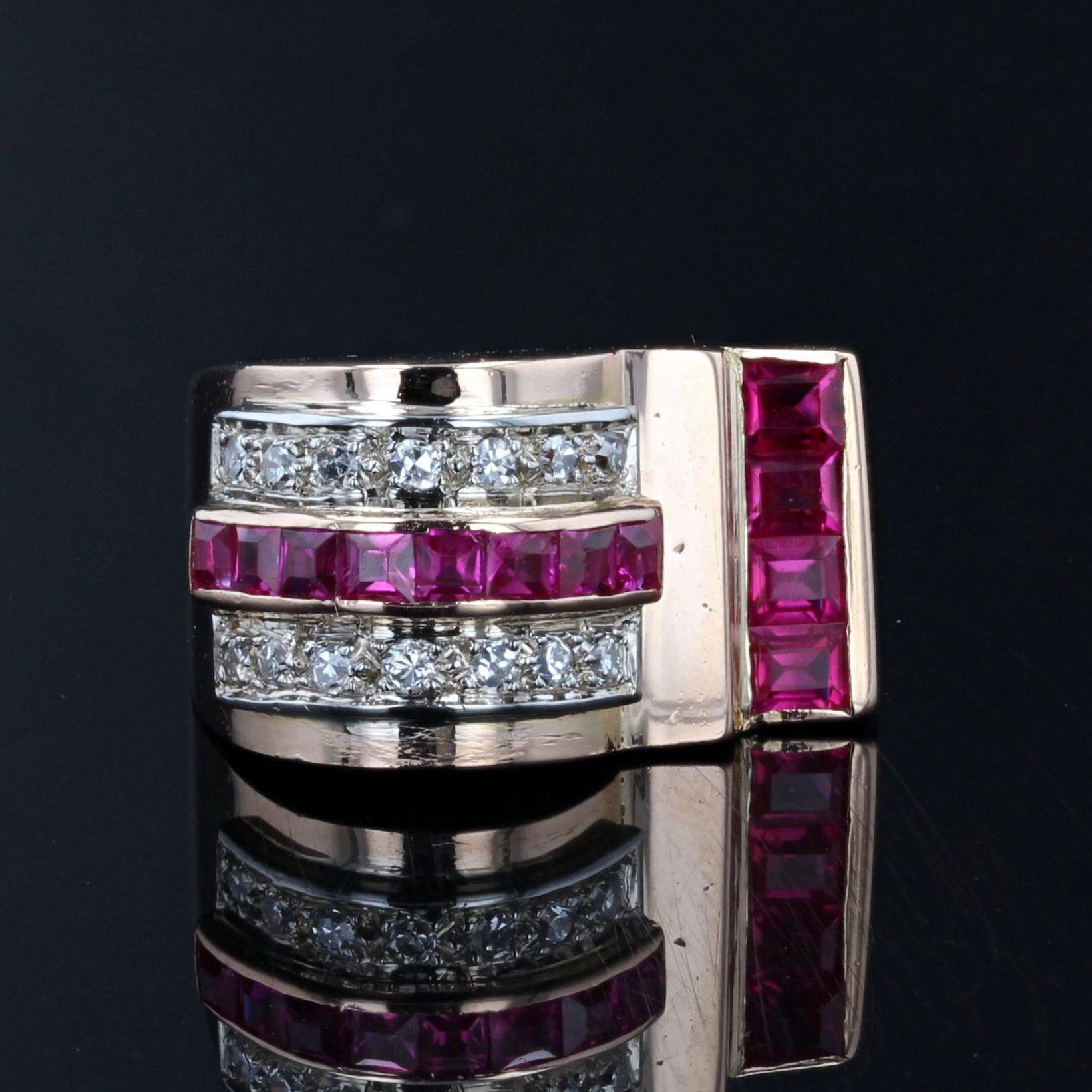 Bague tank asymétrique diamants rubis