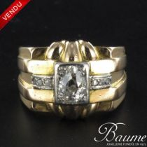 Bague tank diamants, or jaune et platine