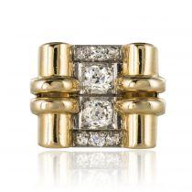 Bague tank diamants à enroulements