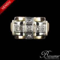 Bague tank diamants bicolore