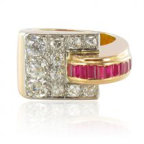 Bague tank diamants et rubis calibrés