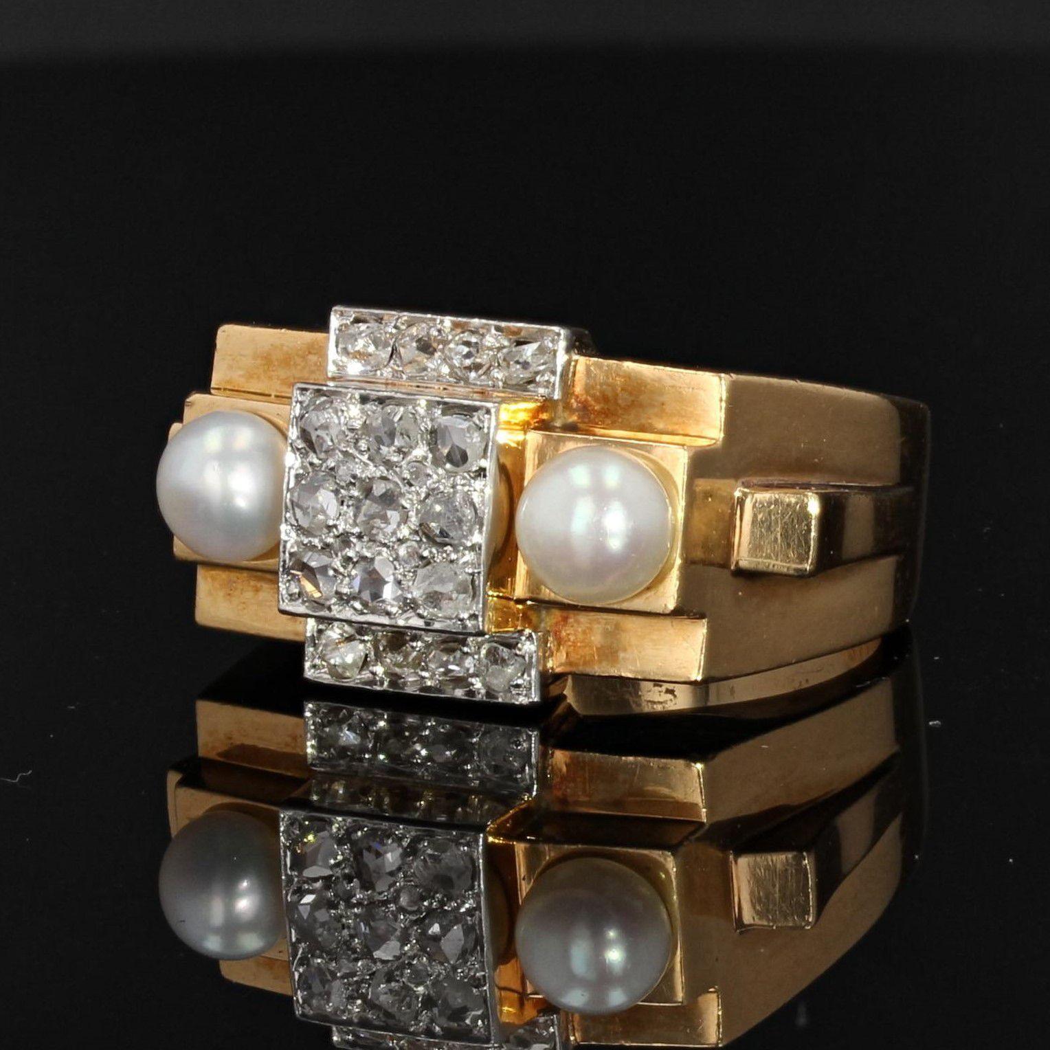 Bague tank diamants perles fines