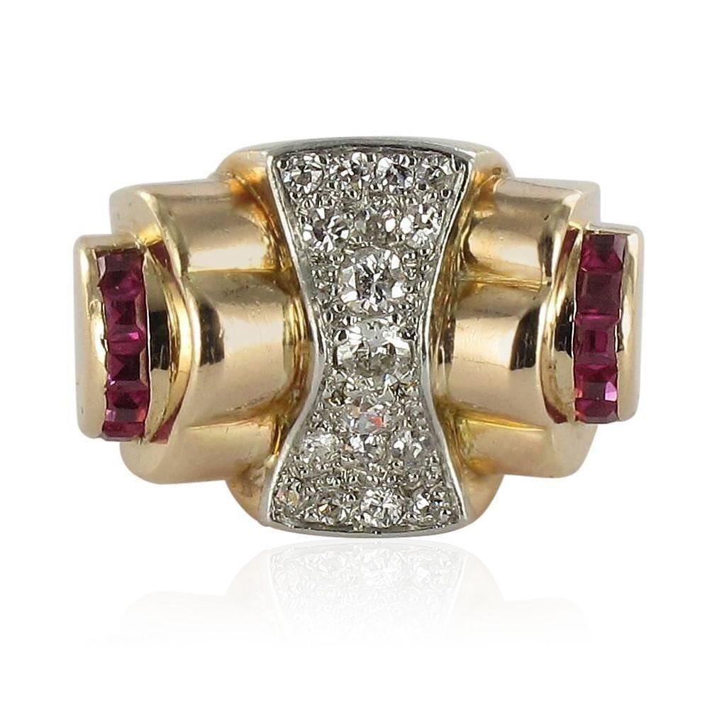 Bague tank diamants rubis calibrés