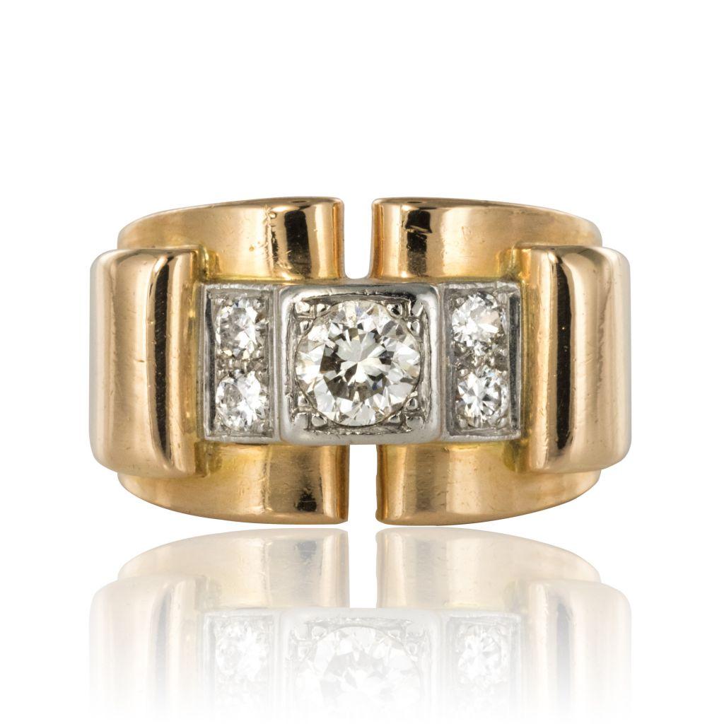 Bague tank en or et diamants