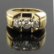 Bague tank jonc 3 diamants