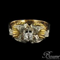Bague tank Or jaune, Platine et Diamants