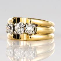 Bague tank or jaune 3 diamants