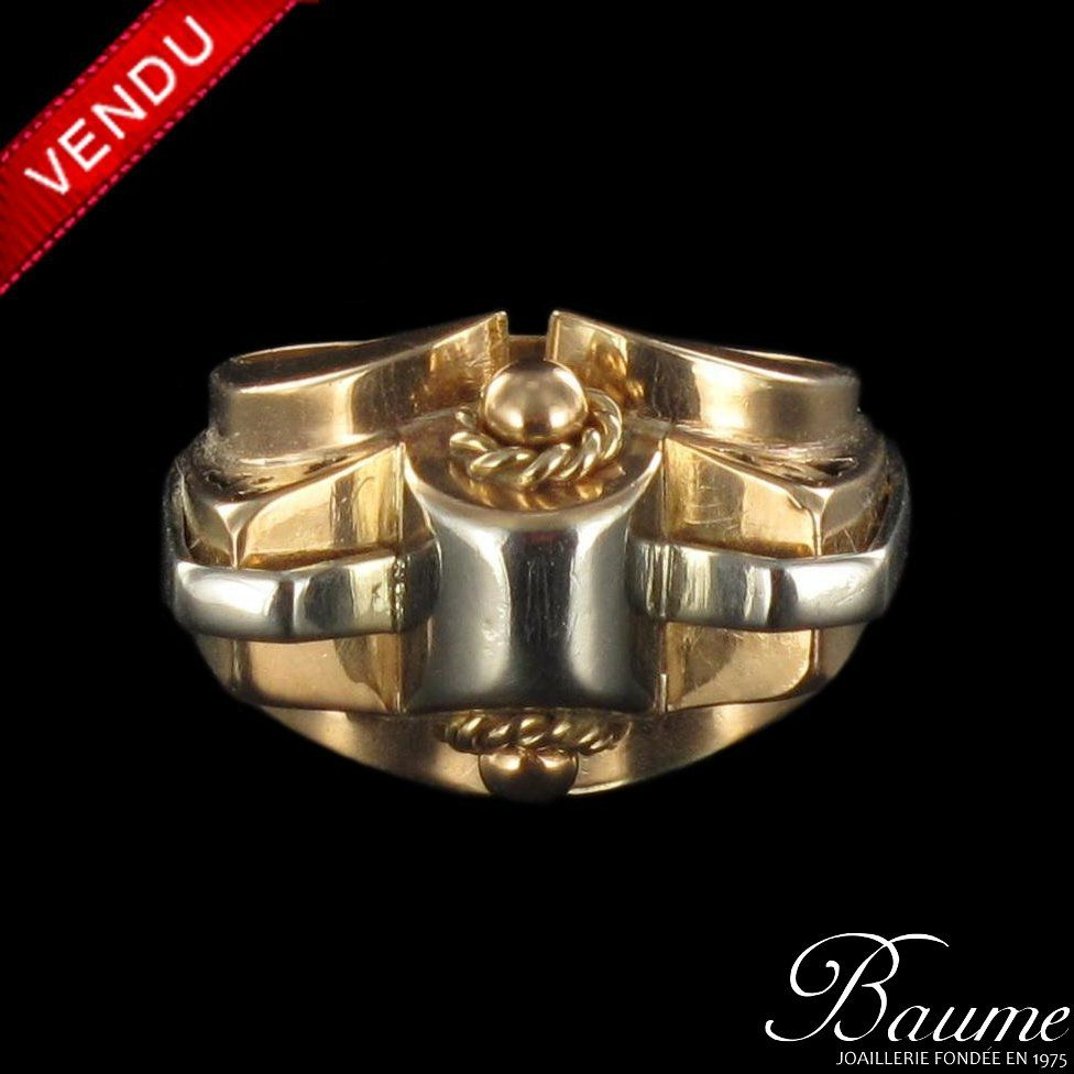 Bague tank or jaune et or blanc