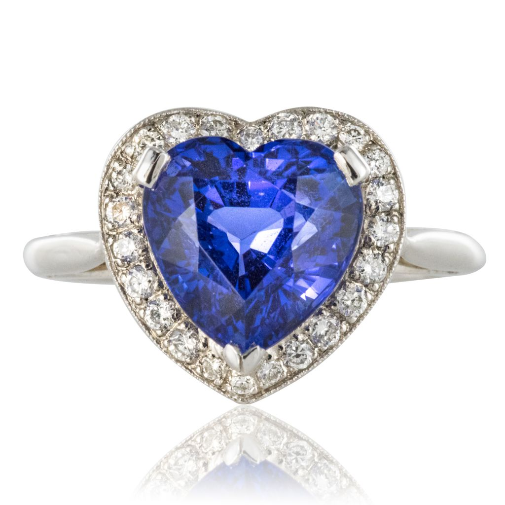Bague Tanzanite coeur et Diamants