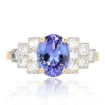 Bague tanzanite diamants style art déco