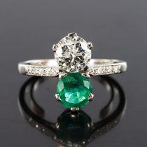 Bague toi et moi émeraude et diamants