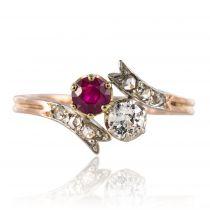 Bague toi et moi rubis diamants ancienne