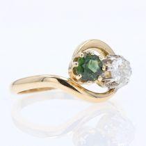 Bague toi et moi saphir vert diamant