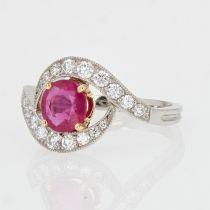 Bague tourbillon rubis diamants