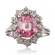 Bague tourmaline rose diamants marguerite