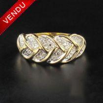 Bague tresse d 'or et de diamants