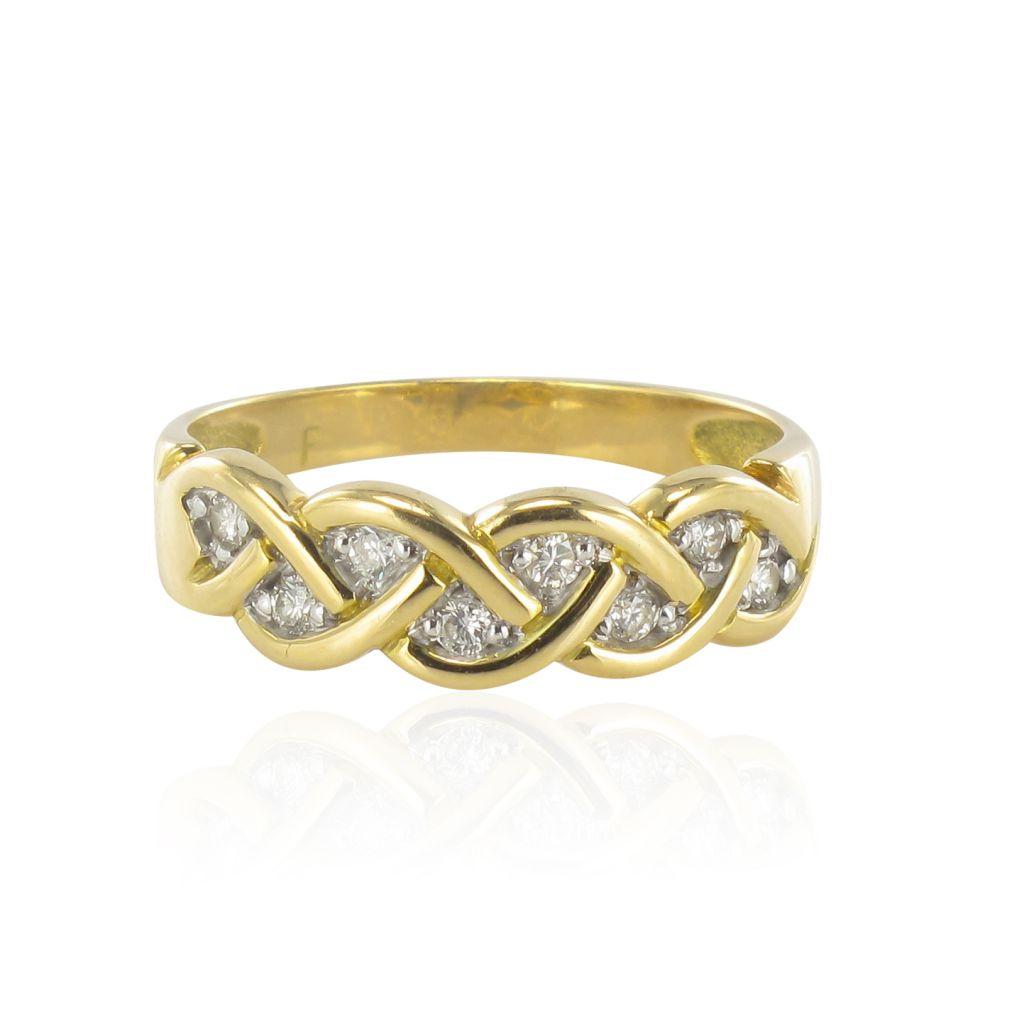 Bague tresse d\'or jaune et diamants