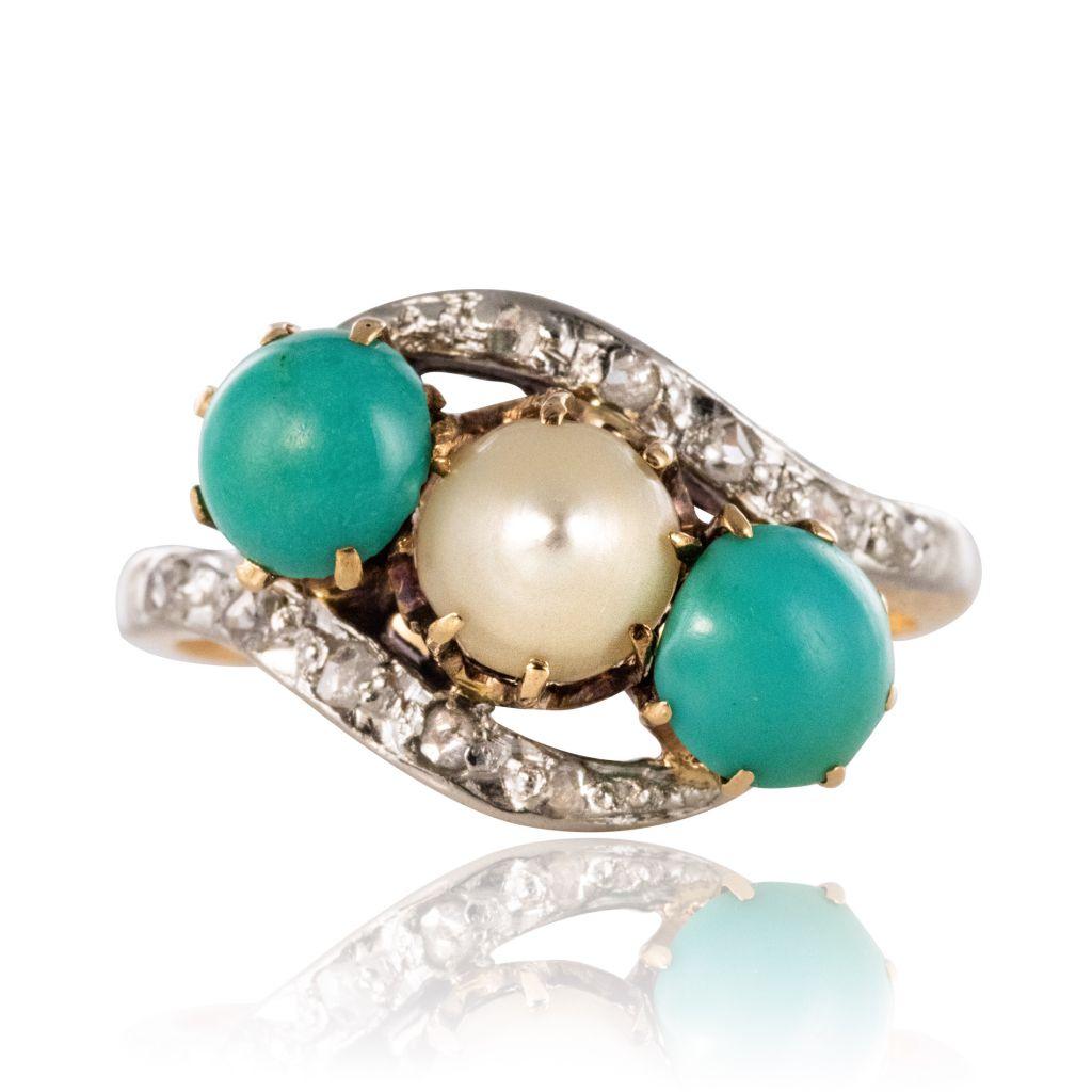 Bague turquoises, perle fine et diamants