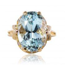 Bague vintage aigue marine diamants