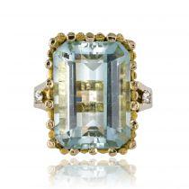 Bague vintage aigue-marine et diamants