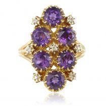 Bague vintage améthystes et diamants