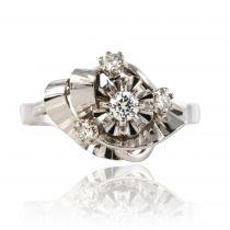 Bague vintage diamants or blanc platine