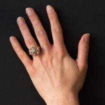 Bague vintage diamants rayonnante