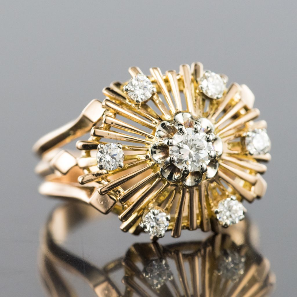 Bague vintage diamants rayonnante