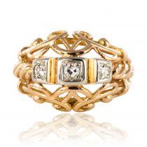 Bague vintage fils d\'or rose et diamants