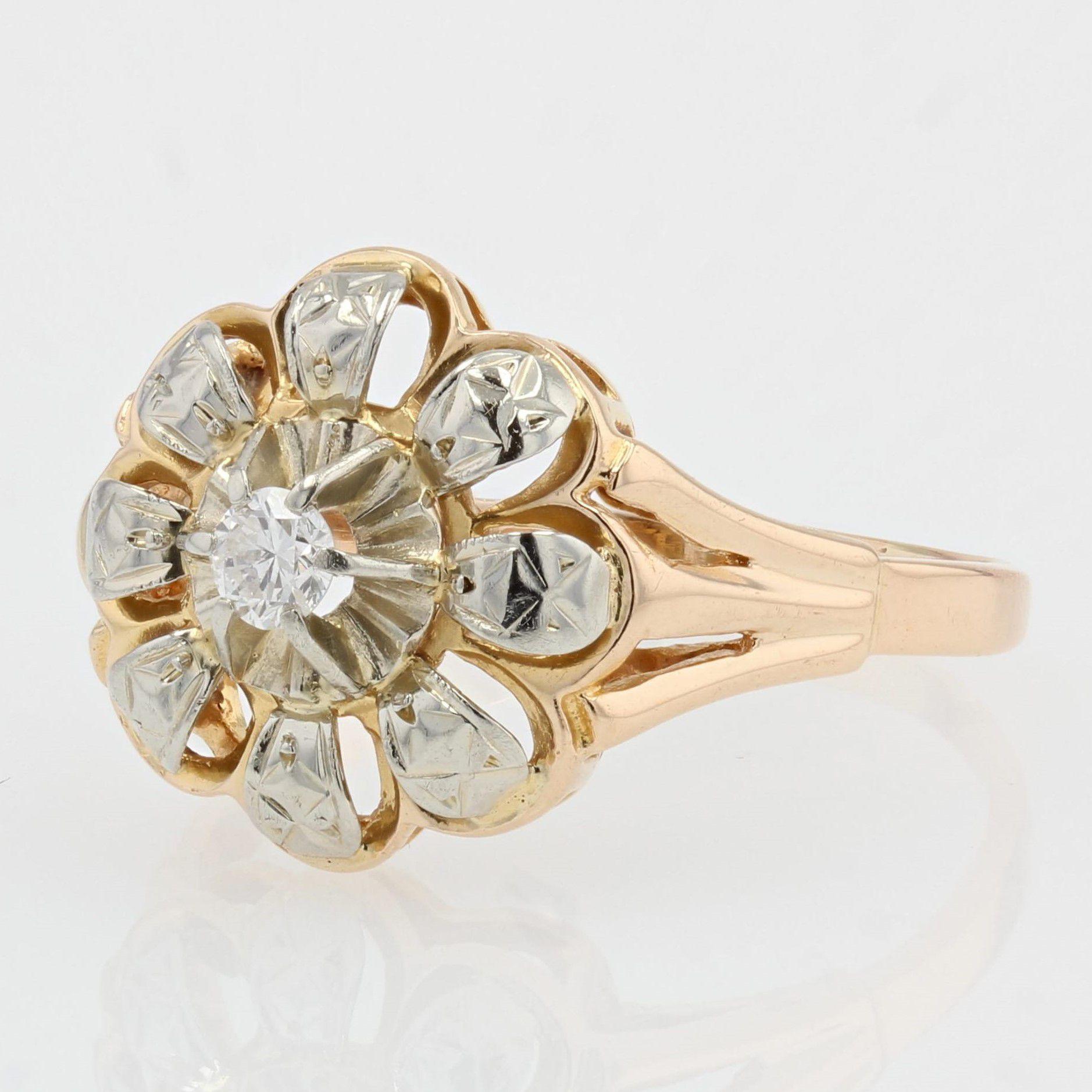 Bague vintage fleur diamant