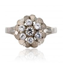 Bague vintage or blanc saphirs blancs