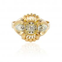 Bague vintage or jaune et diamants