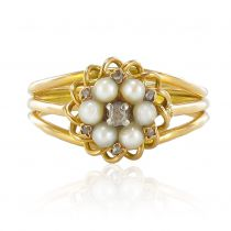 Bague vintage or jaune perles fines et diamants